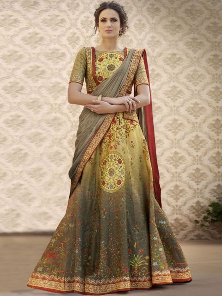 Mustard Yellow and Gray Banarasi Silk Printed Party Lehenga Choli
