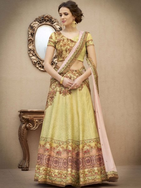 Beige Yellow Banarasi Silk Printed Party Lehenga Choli