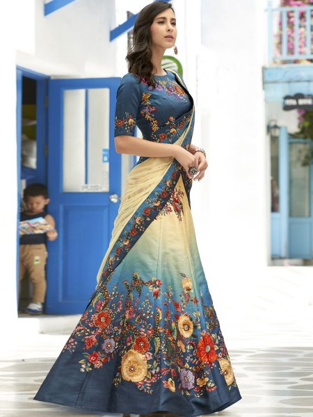 Teal Blue and Cream Yellow Silk Printed Festival Lehenga Choli