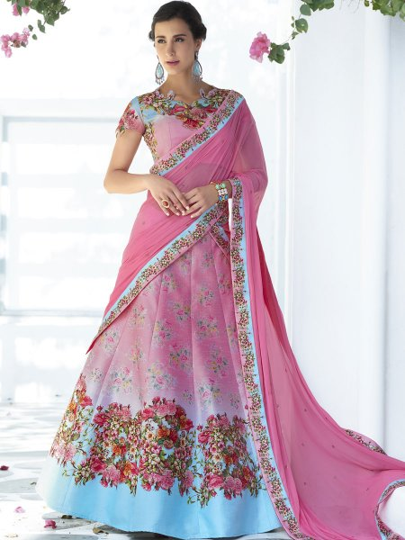 Salmon Pink and Sky Blue Silk Printed Festival Lehenga Choli