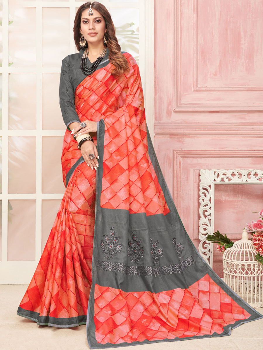 Vermilion Red and Dark Gray Art Silk Printed Party Saree