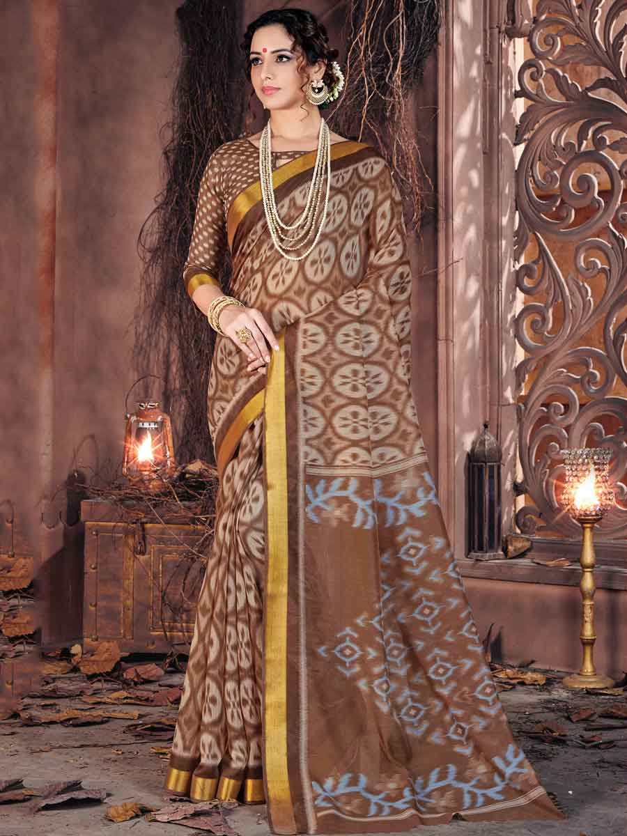 Sepia Brown Cotton Printed Festival Saree