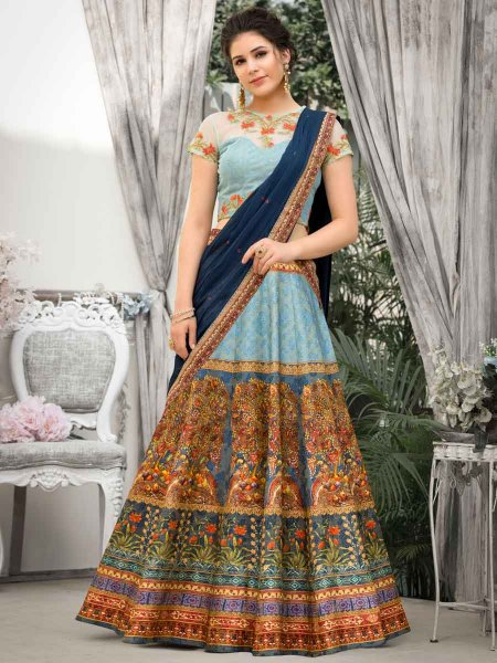 Sky Blue and Navy Blue Banarasi Silk Embroidered Festival Lehenga Choli