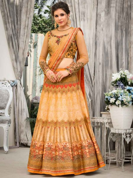 Coral Orange Banarasi Silk Embroidered Festival Lehenga Choli