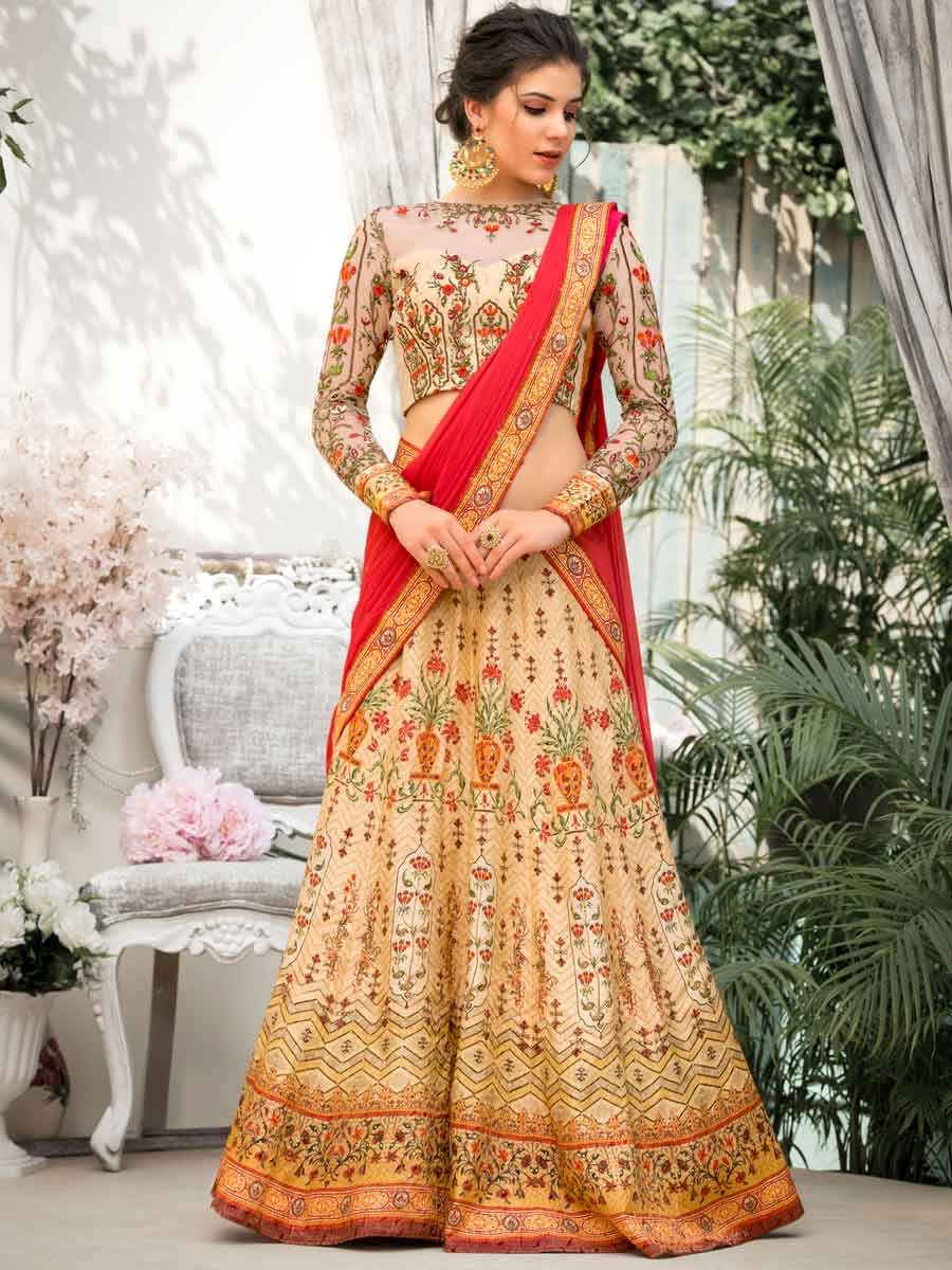 Light Brown  Banarasi Silk Embroidered Festival Lehenga Choli