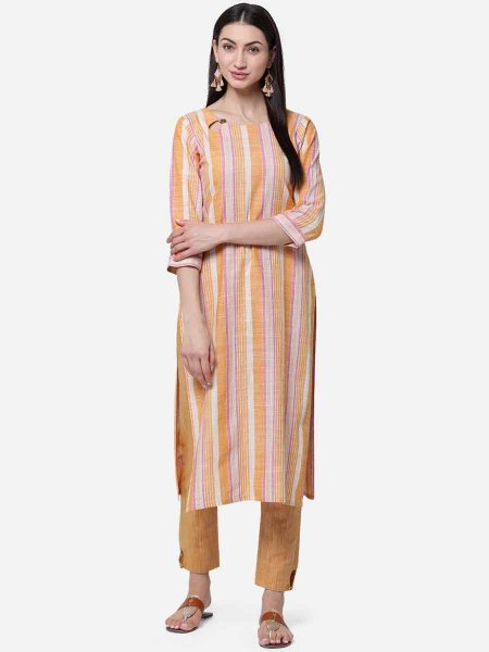 Cream Yellow and Salmon Orange Cotton Printed Casual Kurti