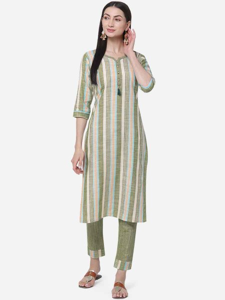 Cream Yellow and Asparagus Green Cotton Printed Casual Kurti