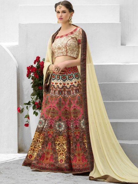 Cream Yellow and Brink Pink Silk Printed Festival Lehenga Choli