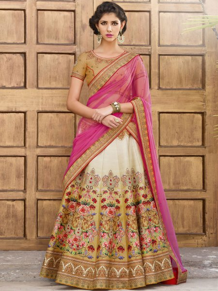 Beige Yellow and Cream Yellow Silk Printed Festival Lehenga Choli
