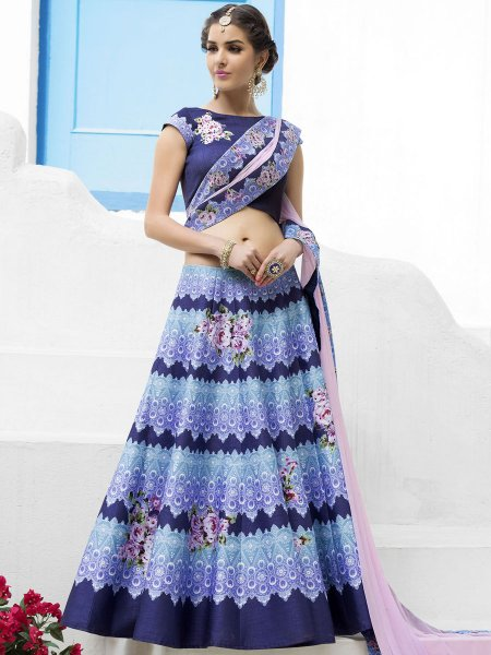Navy Blue and Sky Blue Silk Printed Festival Lehenga Choli