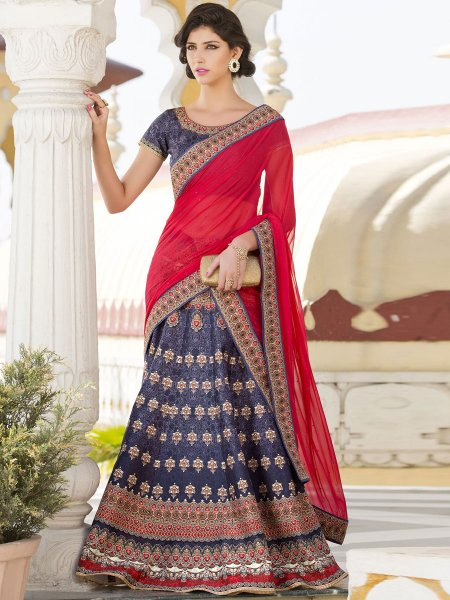 Royal Pink Silk Printed Festival Lehenga Choli