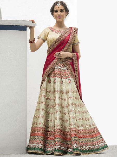 Cream Yellow Silk Printed Festival Lehenga Choli