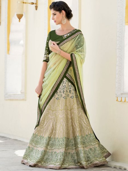 Tea Green Silk Embroidered Festival Lehenga Choli
