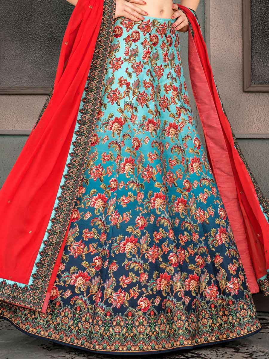 Sky Blue Silk Printed Party Lehenga Choli