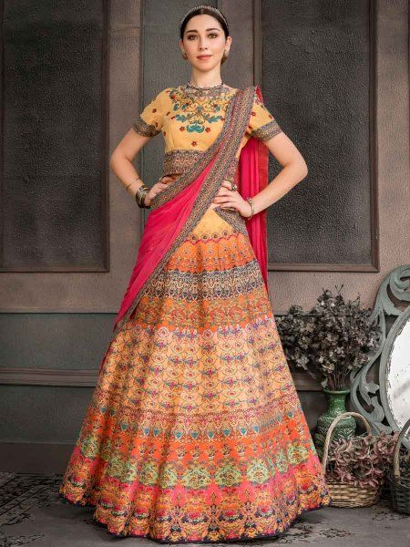 Salmon Orange Silk Printed Party Lehenga Choli