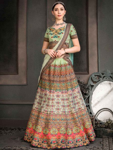 Moss Green Silk Printed Party Lehenga Choli