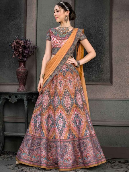 Coral Pink Silk Printed Party Lehenga Choli