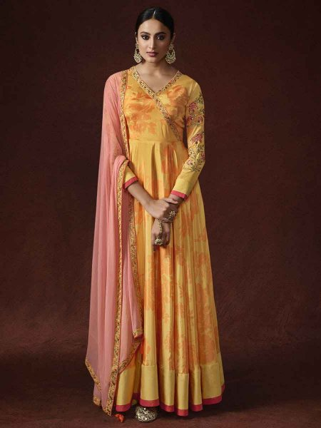 Saffron Yellow Crepe and Banglori Silk Embroidered Party Lawn Kameez