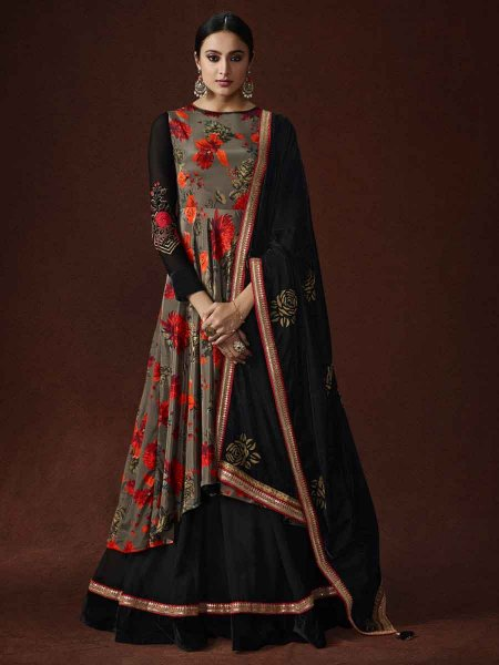 Gray and Black Crepe Embroidered Party Lawn Kameez