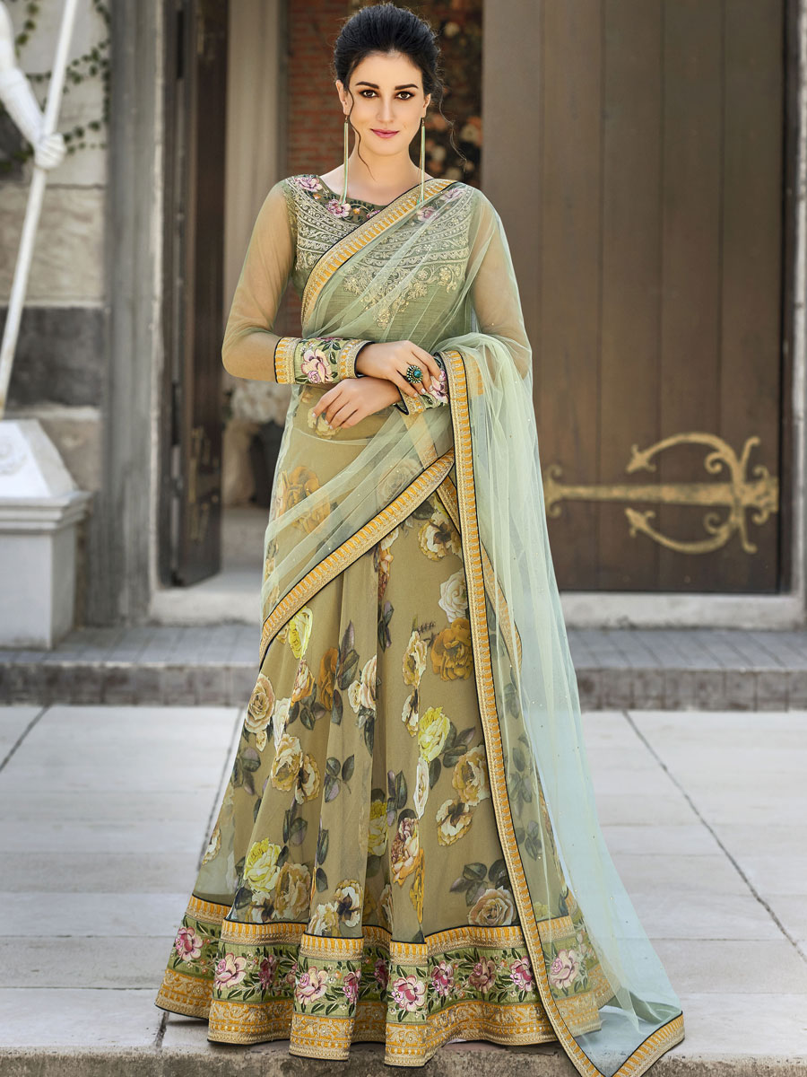 Asparagus Green Organza Silk Embroidered Party Lehenga Choli