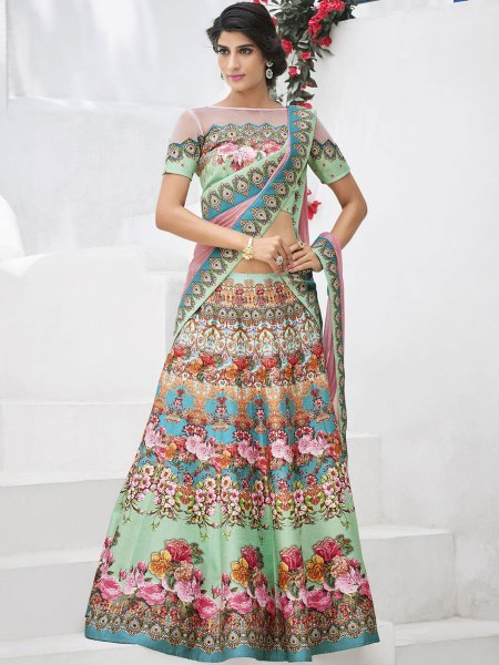 Moss Green and Sky Blue Silk Embroidered Party Lehenga Choli