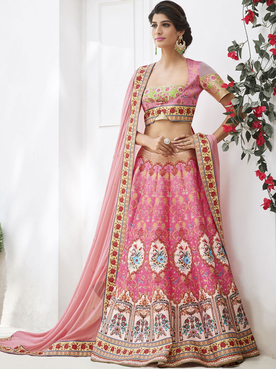 Brink Pink and Cream Yellow Silk Embroidered Party Lehenga Choli