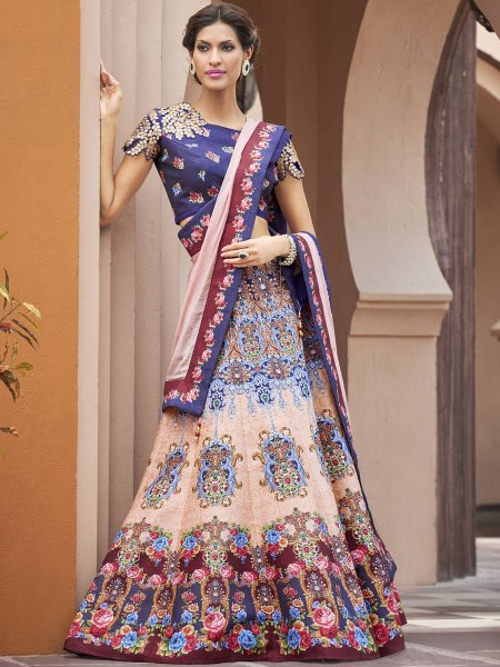 Coral Pink and Maroon Silk Embroidered Party Lehenga Choli