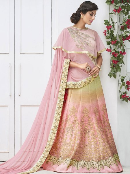 Coral Pink and Moss Green Silk Embroidered Party Lehenga Choli