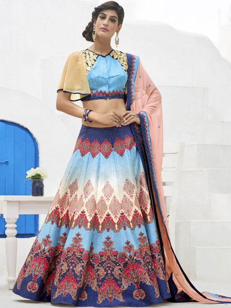Sky Blue Silk Embroidered Party Lehenga Choli