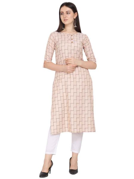 Cream Yellow Rayon Handwoven Party Kurti