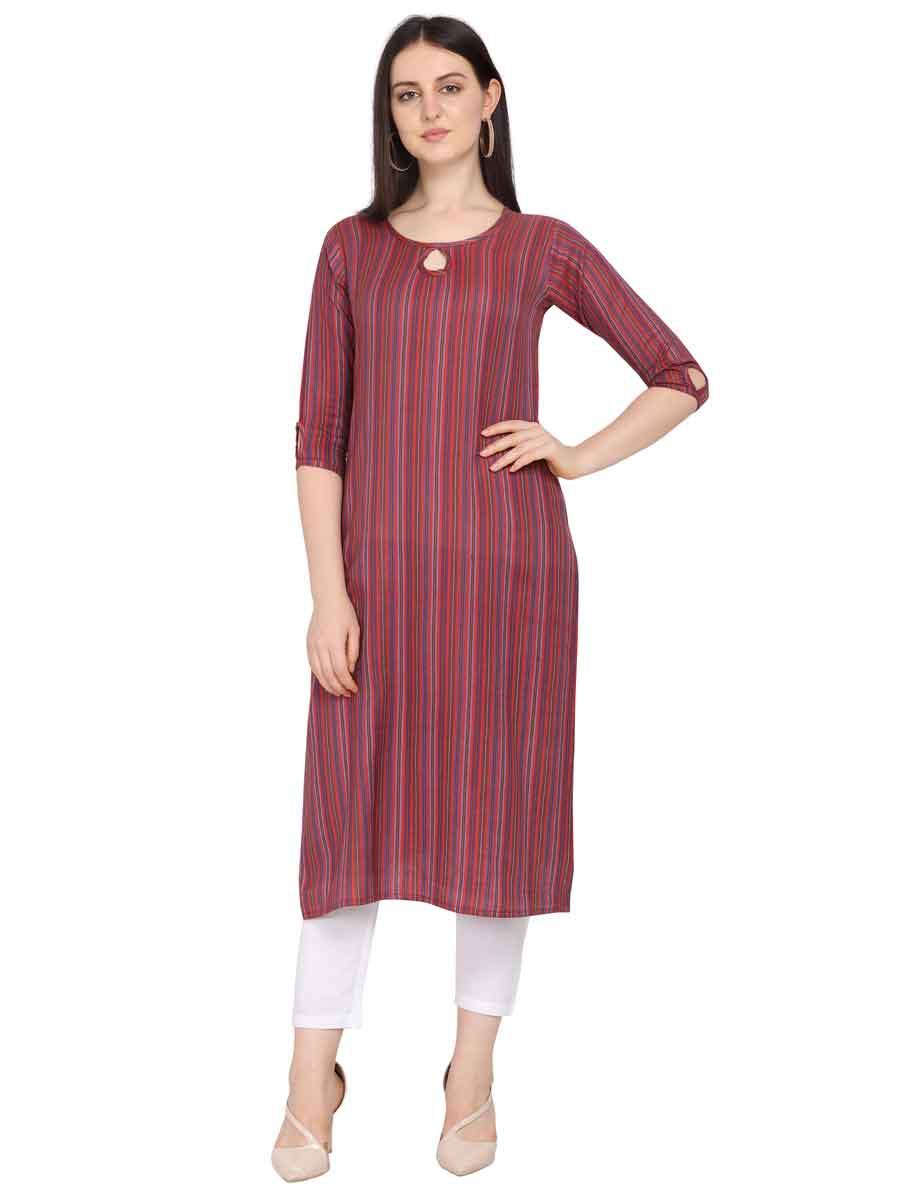 Carnelian Red and Pink Rayon Handwoven Party Kurti