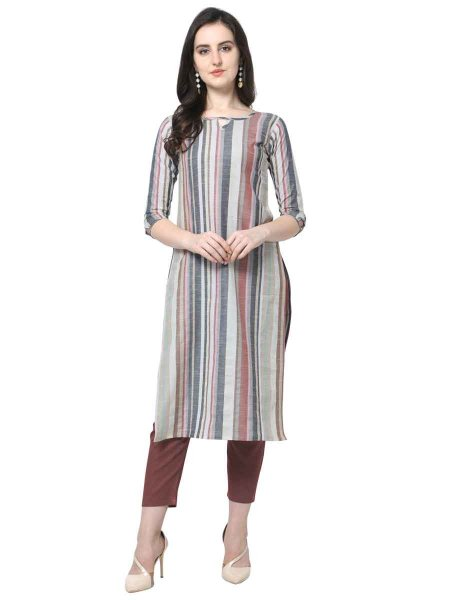Light Gray and Brown Cotton Printed Party Kurti