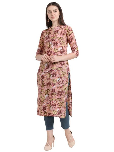Coral Pink Rayon Printed Party Kurti