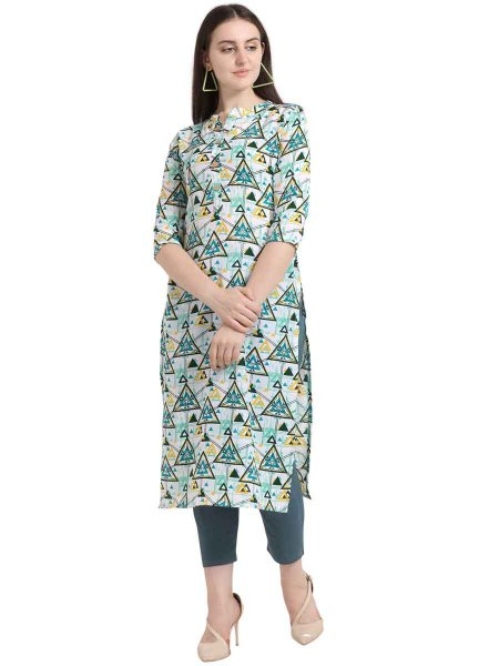 White and Blue Rayon Printed Party Kurti