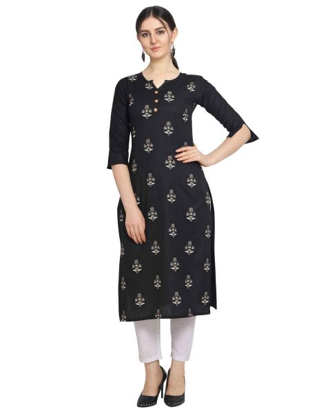 Black Cotton Printed Party Kurti