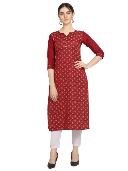 Venetian Red Cotton Printed Party Kurti