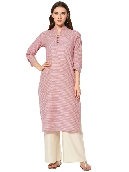 Coral Pink Cotton Printed Party Kurti