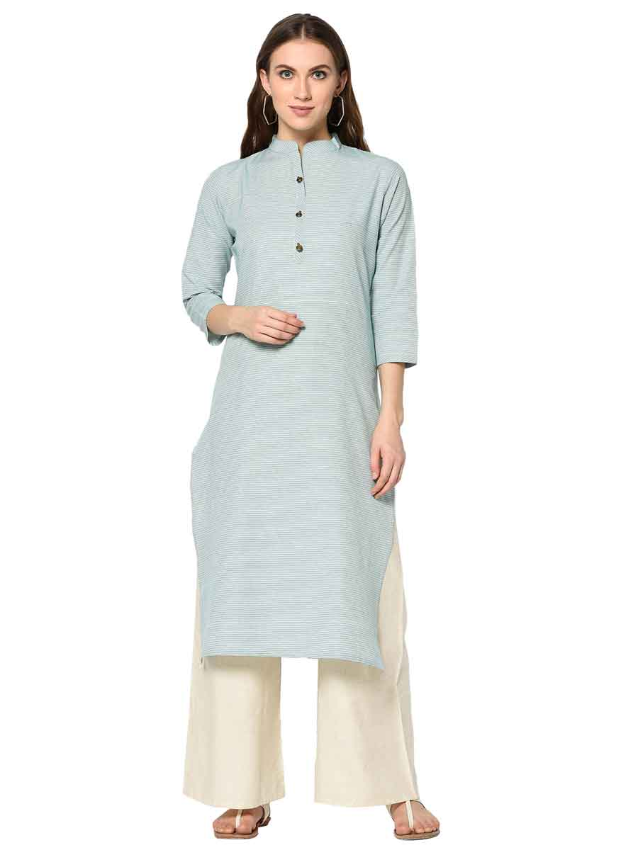 Sky Blue Cotton Printed Party Kurti