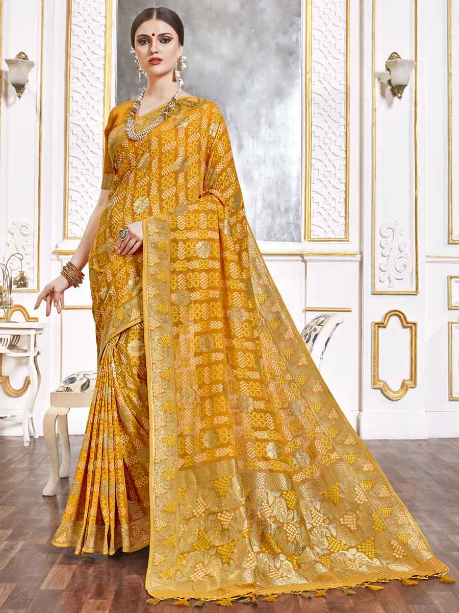 Saffron Yellow Viscose Handwoven Festival Saree