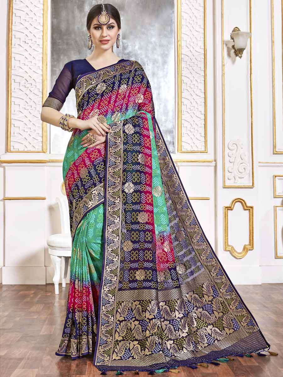 Jungle Green and Navy Blue Viscose Handwoven Festival Saree