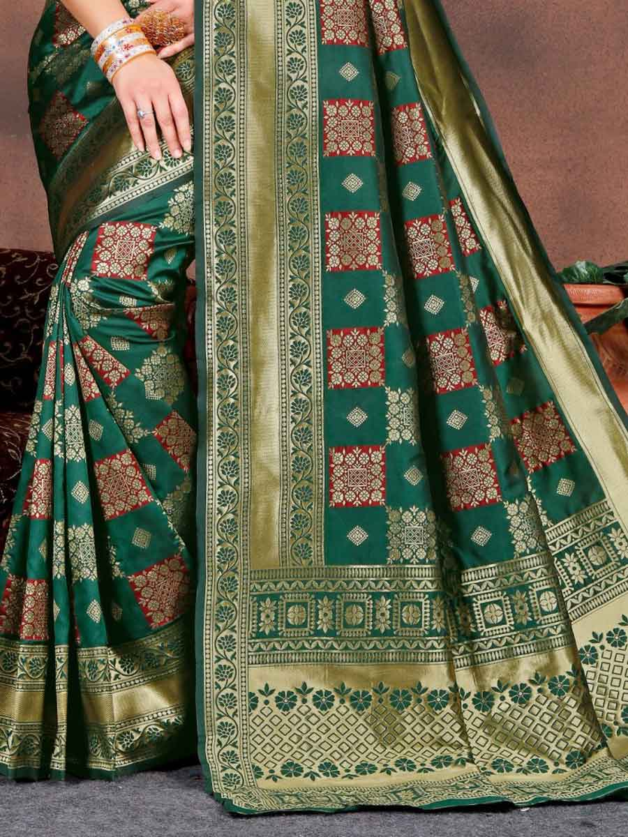 Pine Green Silk Handwoven Festival Saree