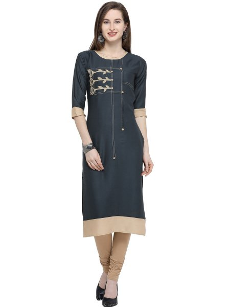 Dark Steel Blue Rayon Printed Casual Kurti
