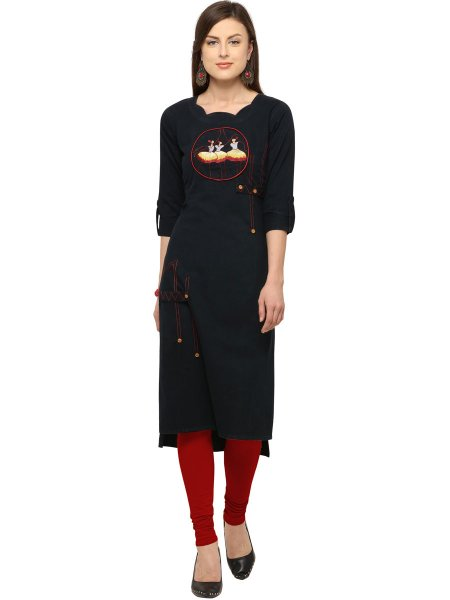 Black Cotton Embroidered Casual Kurti