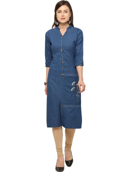 Denim Blue Cotton Embroidered Casual Kurti