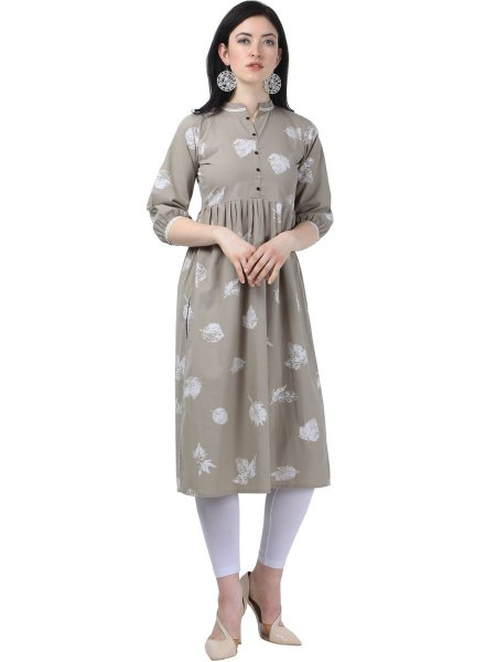 Gray Cotton Printed Casual Kurti