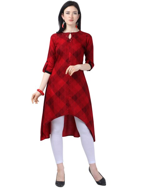 Rose Madder Red Cotton Printed Casual Kurti