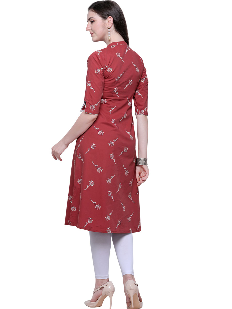 Rose Madder Red Rayon Printed Casual Kurti