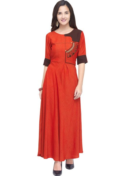 Rose Madder Red Rayon Embroidered Casual Kurti