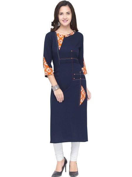 Navy Blue Rayon Printed Casual Kurti