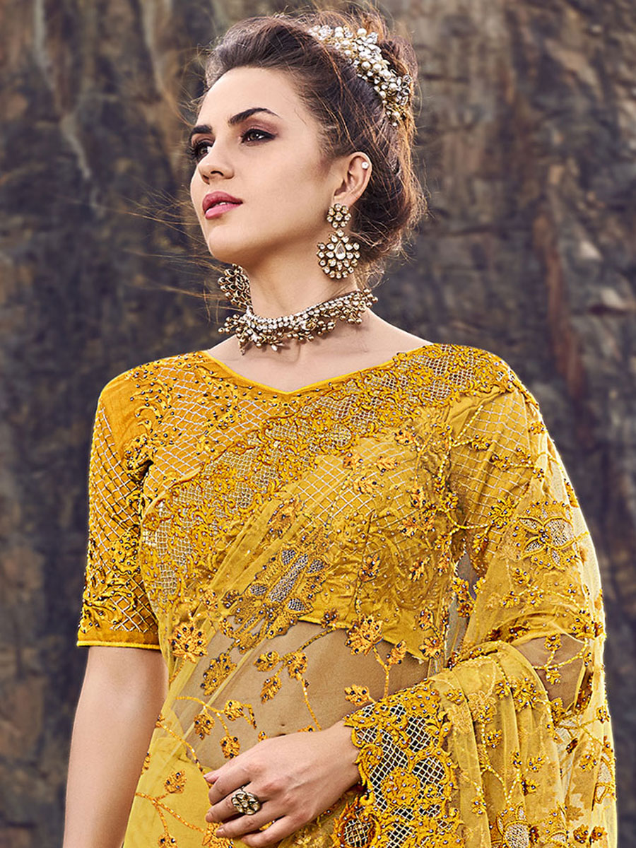 Saffron Yellow Net Embroidered Party Saree